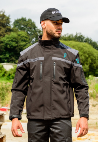 BLOUSON SOFTSHELL INTERVENTION BRODERIE COEUR & MANCHE GAUCHE EVENT SECURITY SP